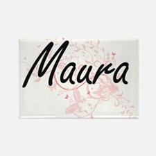 Maura Artistic Name Design with Butterflie Magnets