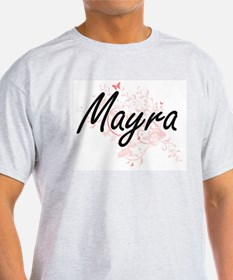 Mayra Artistic Name Design with Butterflie T-Shirt