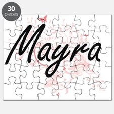 Mayra Artistic Name Design with Butterflies Puzzle