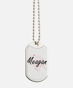 Meagan Artistic Name Design with Butterfl Dog Tags