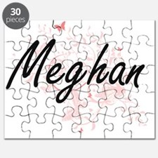 Meghan Artistic Name Design with Butterflie Puzzle