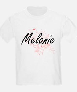 Melanie Artistic Name Design with Butterfl T-Shirt