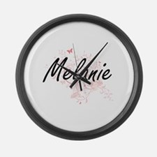 Melanie Artistic Name Design with Large Wall Clock