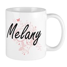 Melany Artistic Name Design with Butterflies Mugs