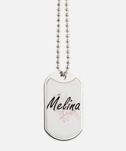 Melina Artistic Name Design with Butterfl Dog Tags