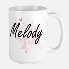 Melody Artistic Name Design with Butterflies Mugs