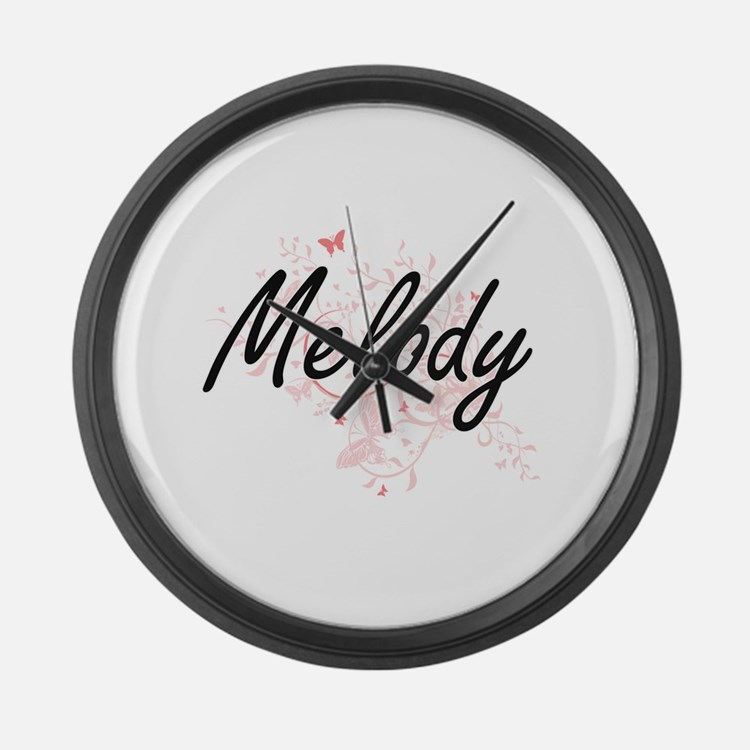 Melody Artistic Name Design with Large Wall Clock