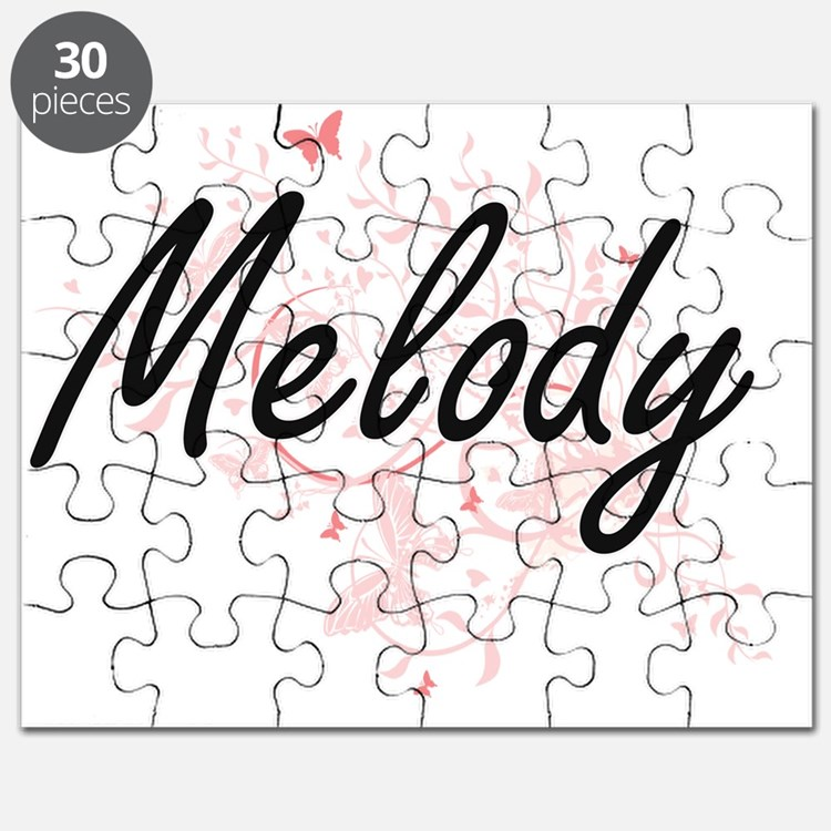 Melody Artistic Name Design with Butterflie Puzzle
