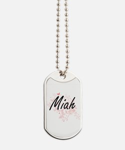 Miah Artistic Name Design with Butterflie Dog Tags