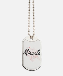 Micaela Artistic Name Design with Butterf Dog Tags