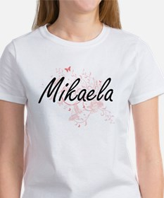 Mikaela Artistic Name Design with Butterfl T-Shirt