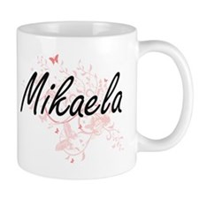 Mikaela Artistic Name Design with Butterflies Mugs