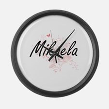 Mikaela Artistic Name Design with Large Wall Clock