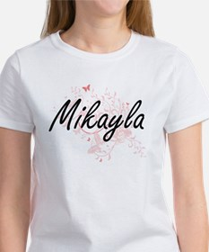Mikayla Artistic Name Design with Butterfl T-Shirt