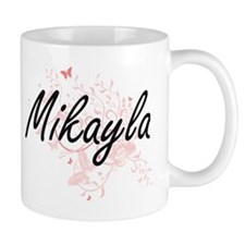 Mikayla Artistic Name Design with Butterflies Mugs