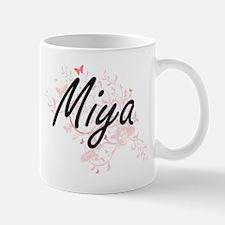 Miya Artistic Name Design with Butterflies Mugs