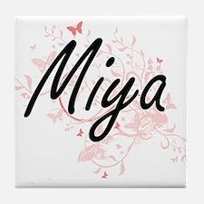 Miya Artistic Name Design with Butter Tile Coaster