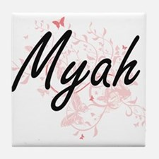 Myah Artistic Name Design with Butter Tile Coaster