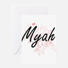 Myah Artistic Name Design with Butt Greeting Cards