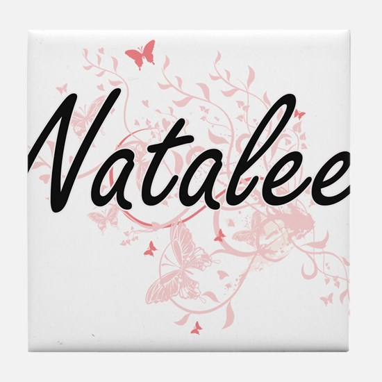 Natalee Artistic Name Design with But Tile Coaster