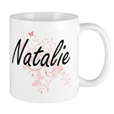 Natalie Artistic Name Design with Butterflies Mugs