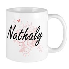 Nathaly Artistic Name Design with Butterflies Mugs