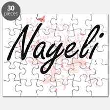 Nayeli Artistic Name Design with Butterflie Puzzle