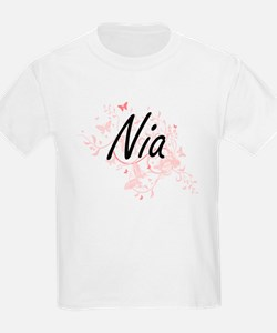Nia Artistic Name Design with Butterflies T-Shirt