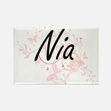 Nia Artistic Name Design with Butterflies Magnets