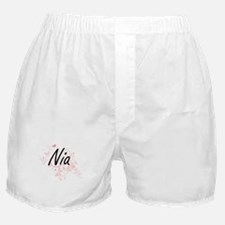 Nia Artistic Name Design with Butterf Boxer Shorts