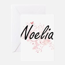 Noelia Artistic Name Design with Bu Greeting Cards