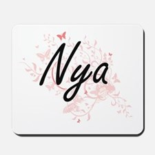 Nya Artistic Name Design with Butterflie Mousepad