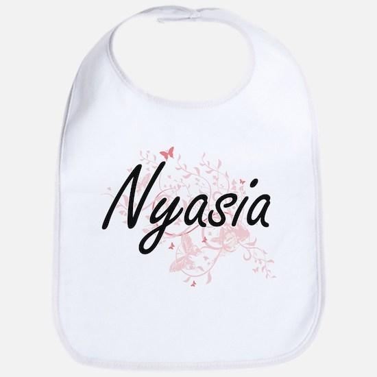 Nyasia Artistic Name Design with Butterflies Bib