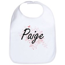 Paige Artistic Name Design with Butterflies Bib