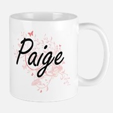 Paige Artistic Name Design with Butterflies Mugs
