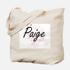 Paige Artistic Name Design with Butterfli Tote Bag