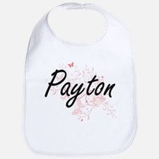 Payton Artistic Name Design with Butterflies Bib
