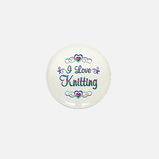 I Love Knitting Mini Button