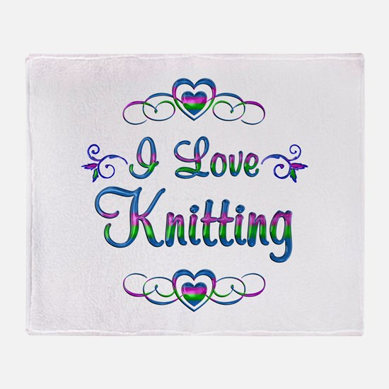 I Love Knitting Throw Blanket