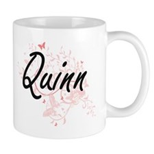 Quinn Artistic Name Design with Butterflies Mugs