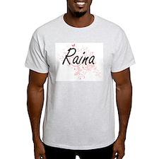 Raina Artistic Name Design with Butterflie T-Shirt