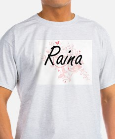 Raina Artistic Name Design with Butterflie T-Shirt