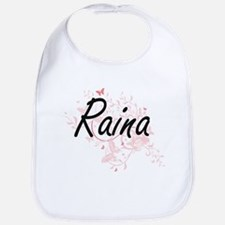Raina Artistic Name Design with Butterflies Bib