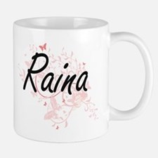 Raina Artistic Name Design with Butterflies Mugs