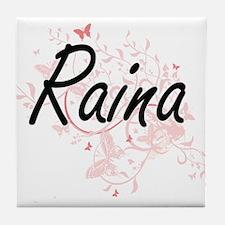 Raina Artistic Name Design with Butte Tile Coaster