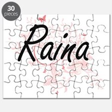 Raina Artistic Name Design with Butterflies Puzzle
