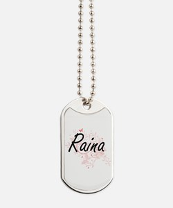 Raina Artistic Name Design with Butterfli Dog Tags