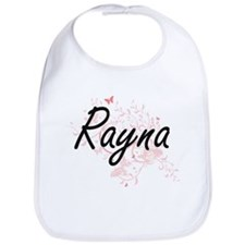 Rayna Artistic Name Design with Butterflies Bib