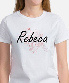 Rebeca Artistic Name Design with Butterfli T-Shirt