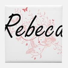 Rebeca Artistic Name Design with Butt Tile Coaster